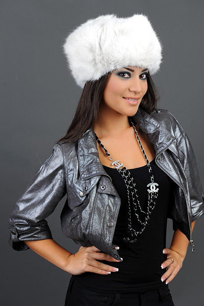 Rabbit Fur Hat - White - Russian Winter Hat Ushanka