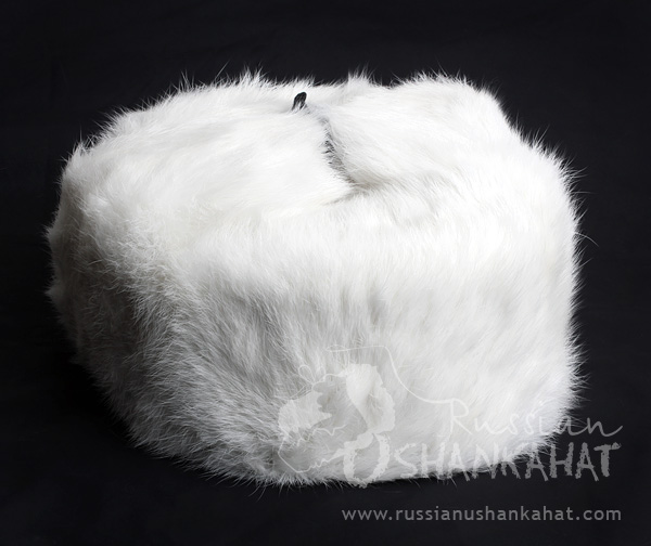 Russian Army Cossack Soldier White Rabbit Fur Ushanka Trapper Ski Hat + Badge - Kids size