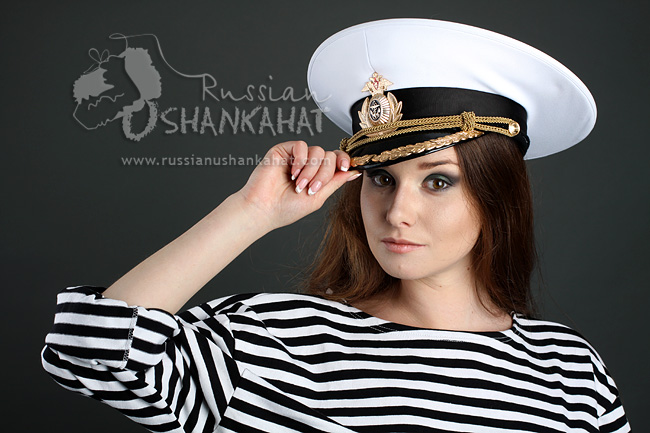 Russian Military Navy Naval Fleet Officer Captain Uniform Visor Hat Peaked Cap White