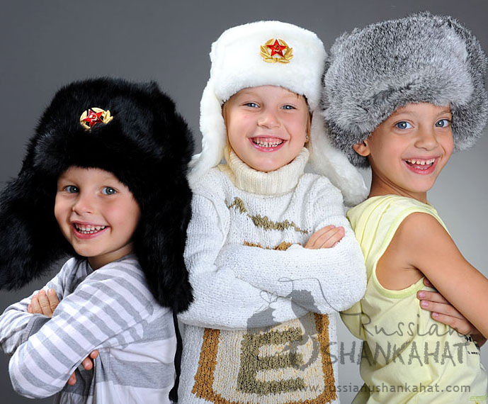 Russian Army Cossack Soldier Black Rabbit Fur Ushanka Trapper Ski Hat + Badge - Kids size