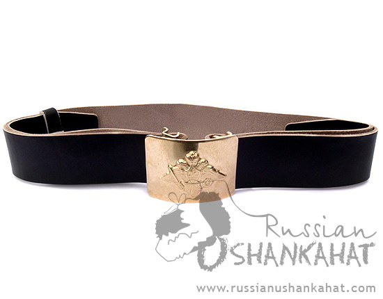 Russian Army Uniform Black Leather Belt with Brass Buckle Imperial Crest Two-Headed Eagle