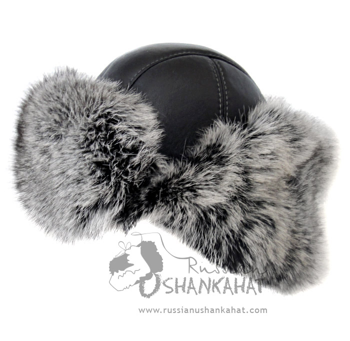 Grey Rabbit Fur Bomber Aviator Hat / Pilot Helmet - Natural Leather