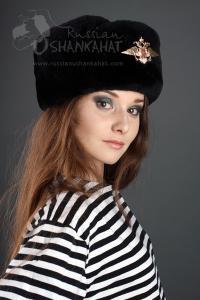 Mens Fur Hat - Black Ushanka & MVD Badge - Mouton Sheepskin
