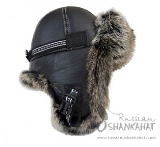 Russian Natural Brown Rabbit Fur & Leather Aviator Hat - Premium Quality