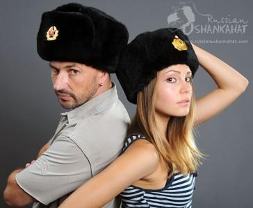 Premium Quality Ushanka - Sheepskin Hat - Black - with Army Badge