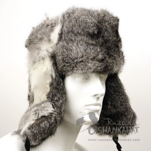 Grey Natural Rabbit Fur Russian Winter Ushanka Hat (Bomber Hat) + Soviet Army Soldier Badge Men's or Women's