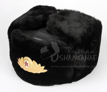 Russian Fur Hat - Military Ushanka & Soviet Army General Badge - Mouton Sheepskin