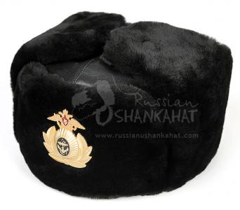 Russian NAVY Ushanka Hat - Black Mouton Sheepskin Fur & Leather Top