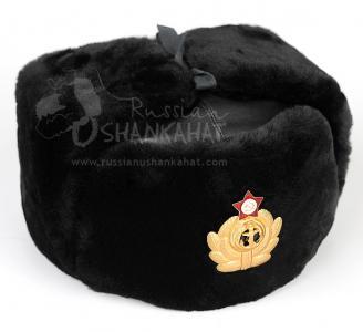 Soviet Navy Hat - Mouton Sheepskin Ushanka - Black Fur