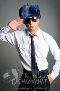 Grey Sheepskin & Leather Russian Ushanka Hat + Eagle Badge (Bomber hat)