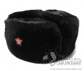 Russian Ushanka - Black Men's Fur hat - Mouton Sheepskin - Soviet Army Red Star Badge