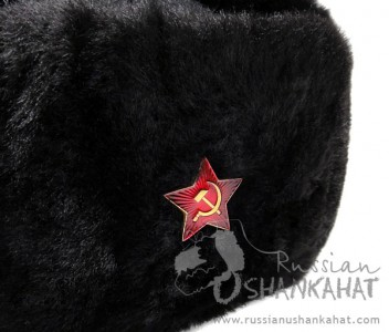 Russian Sheepskin Hat - Ushanka - Original Military Uniform - Red Star Badge