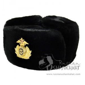 Russian Fur Hat - Full Fur Sheepskin Ushanka - Mens - Navy Badge
