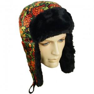 Russian Ushanka Winter Fur Hat Khokhloma