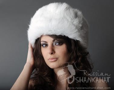 Rabbit Fur Hat - White - Russian Winter Hat Ushanka