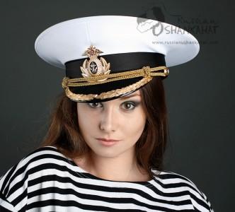 Russian Military Navy Naval Fleet Officer Captain Uniform Visor Hat Peaked Cap White