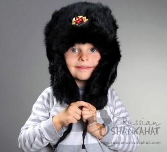 Russian Army Cossack Soldier Black Rabbit Fur Ushanka Trapper Ski Hat + Badge - Kids size