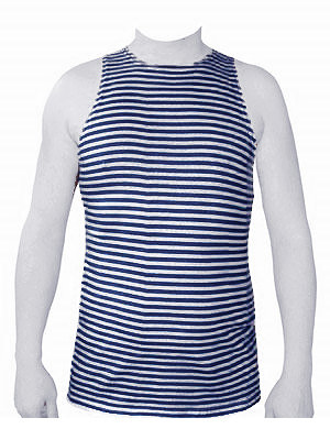 Russian Military Naval Uniform Dark Blue Striped TELNYASHKA Shirt Tank Top Sleeveless