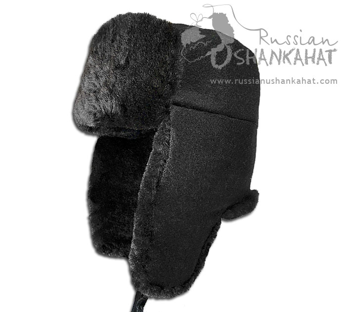 Russian Military Black Natural Sheepskin Ushanka Hat + Soviet Army Soldier Badge