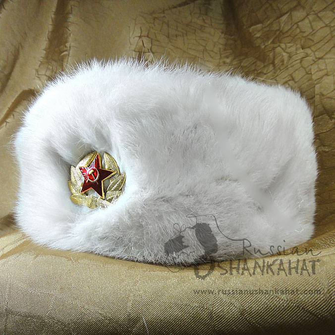 Russian Fur Hat - White - Army Badge (Rabbit)