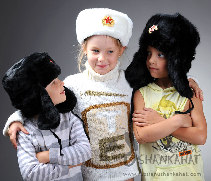 Boys / Girls Russian Soviet Army Soldier White Faux Fur Ushanka Trapper Hat + Badge - Kids Toddlers size